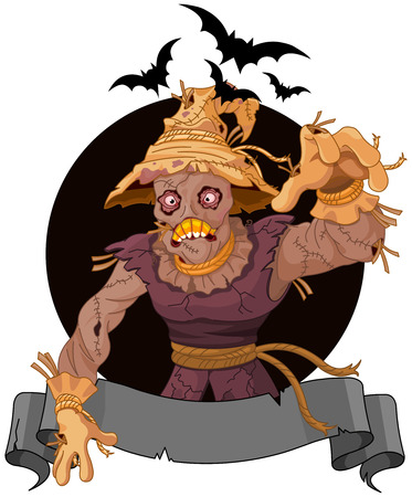 Illustration of very scary scarecrow Vector