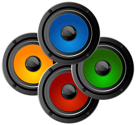 Set of four colored audio speakers Vector