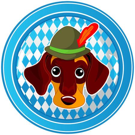 blau weiss: Oktoberfest Celebration circle button with dog Illustration