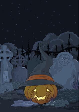Illustration of spooky pumpkin in the gothic cemetery Vector