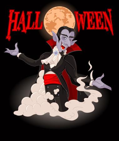 Illustration of very cute vampire on Halloween background Vector