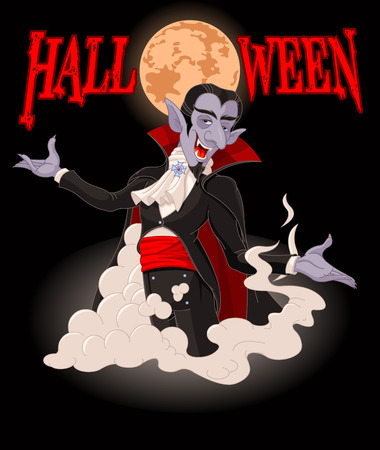 charismatic: Illustration of very cute vampire on Halloween background