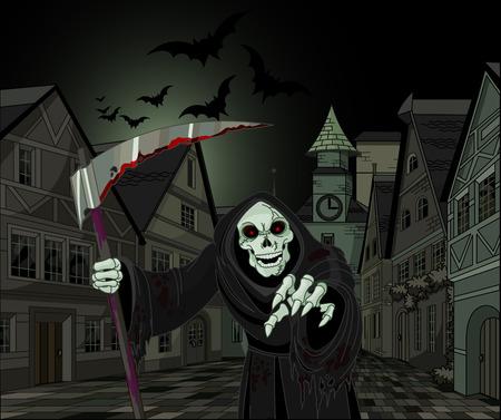 Halloween horrible Grim Reaper on cityscape background Vector