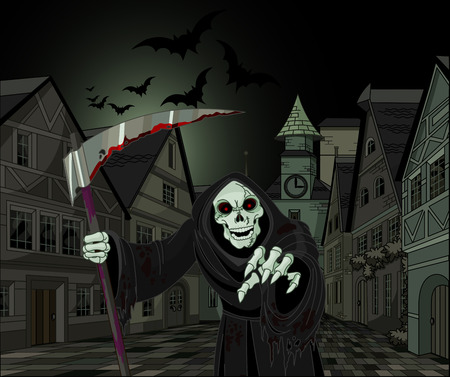 Halloween horrible Grim Reaper on cityscape background
