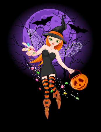 Illustration of trick or treating witch on  the night background Vector