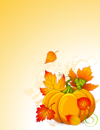 Illustration of Autumn Pumpkin and leaves background Vector