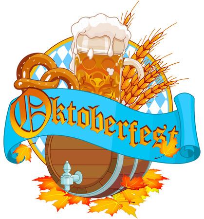 Decoratieve Oktoberfest ontwerp met bier houten keg en mok