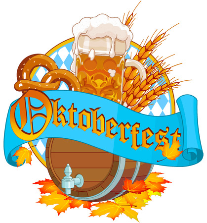 bier: Decorative Oktoberfest design with beer wood keg and mug