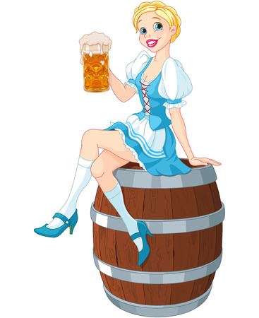 German girl sits on the keg and holds mug