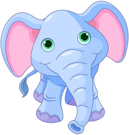 cheerful cartoon: Ilustraci�n de lindo beb� elefante
