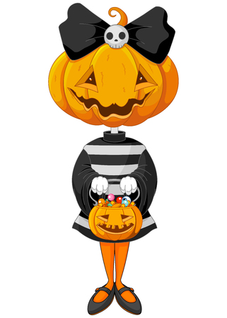 Halloween trick or treating girl in Halloween pumpkin costume Vector