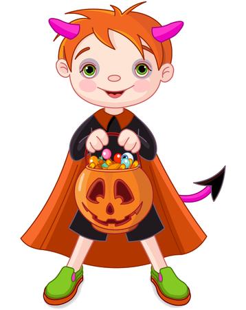 Halloween costumed boy trick or treating
