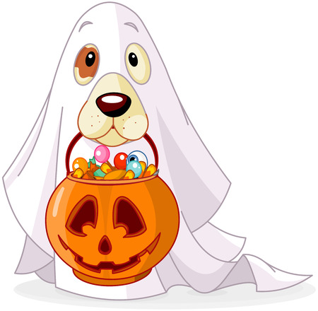 Halloween costumed dog holds pumpkin bag full candy