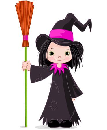 Halloween Heks houdt bezem Stock Illustratie