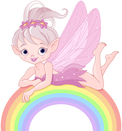 Illustration of beautiful pixie fairy lies on rainbow Vector