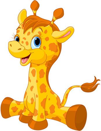 Illustration de petite girafe veau mignon