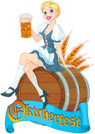 German girl sits on the keg and holds mug  Vector