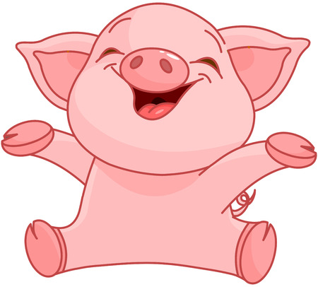 Illustration of very cute piggy  Vector