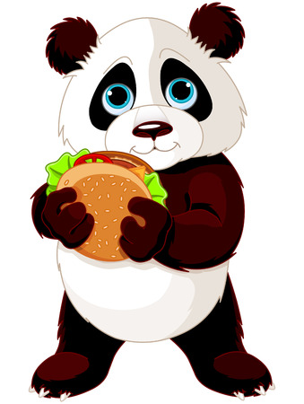 Illustration of cute Panda eats hamburger  Иллюстрация