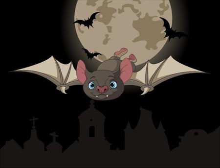Illustration of Cute Cartoon Halloween bat in flight on full moon background Vector
