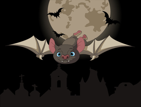 Illustration of Cute Cartoon Halloween bat in flight on full moon background Ilustração