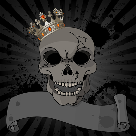 Crowned skull on black dirty background with copy space     Vector