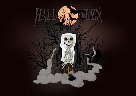 Illustration of Halloween horror nun Vector
