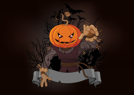 Illustration of very scary scarecrow with a pumpkin head Illustration