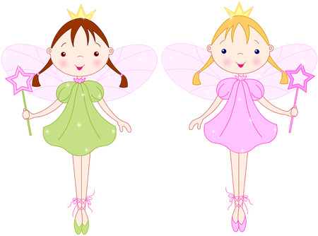 young girl: Couple cute fairies with magic wands