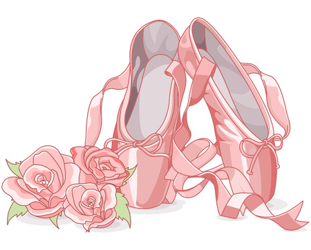 Illustration of ballet slippers with roses