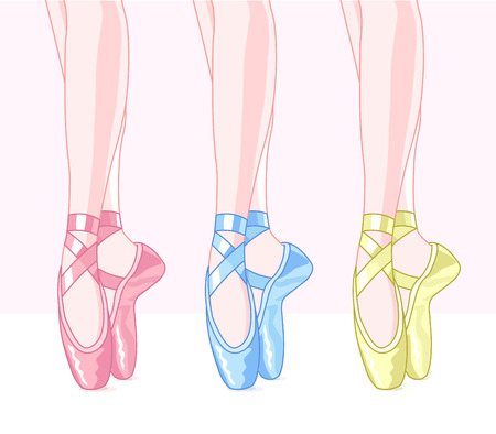 Illustration of set ballet shoes Vector