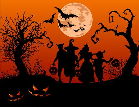 boom halloween: Halloween achtergrond met silhouetten van kinderen truc of behandelen in Halloween kostuum Stock Illustratie