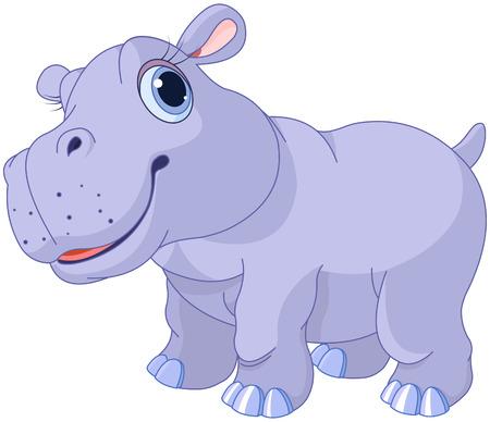 hipopotamo dibujos animados: Ilustración de muy lindo ternero hipopótamo