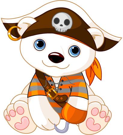 Polar Bear habillé comme pirate pour Halloween Banque d'images - 32366186
