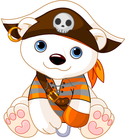 oso: Polar Bear-up vestido como pirata para Halloween Vectores