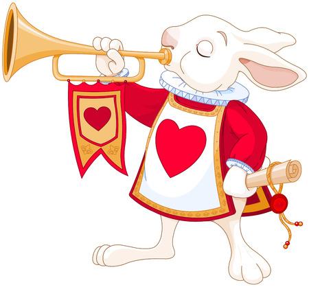 trompeta: Ilustraci�n de conejito trompetista real