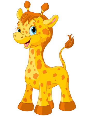 動物: 插圖的小可愛長頸鹿小牛 向量圖像