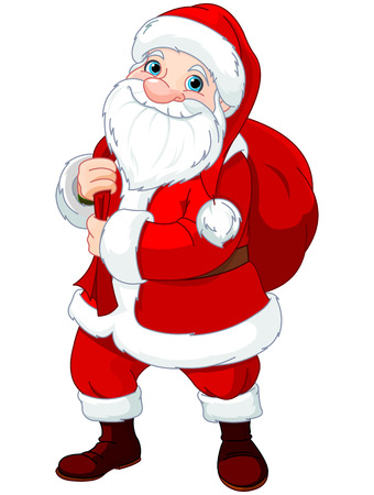 bagful: Illustration of Santa Claus who brought gifts