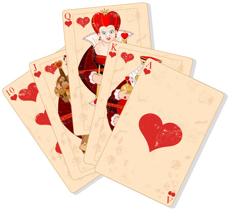 Illustration of Hearts royal flush