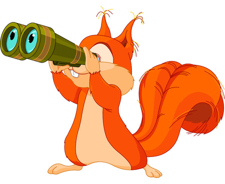 Illustration of very cute squirrel are watching into binocular Ilustrace