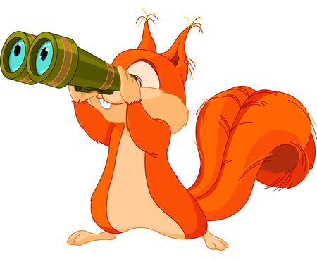 Illustration von sehr niedlichen Eichhörnchen in binokularen beobachten Vektorgrafik