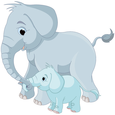 Illustration of cute mother and baby elephant