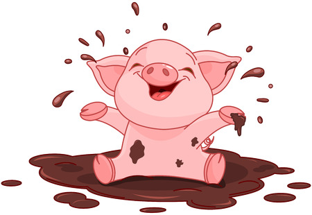 Illustration of very cute piggy in a puddle