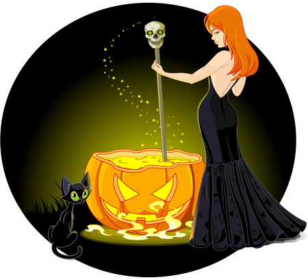 A sexy witch mixes a potion in a cauldron Vector