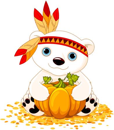 Illustration of cute polar bear holds pumpkin Vector