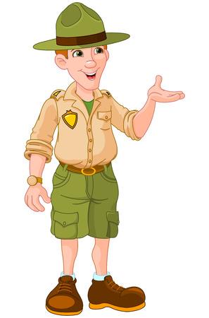 Illustration of cute park ranger in uniform Vettoriali