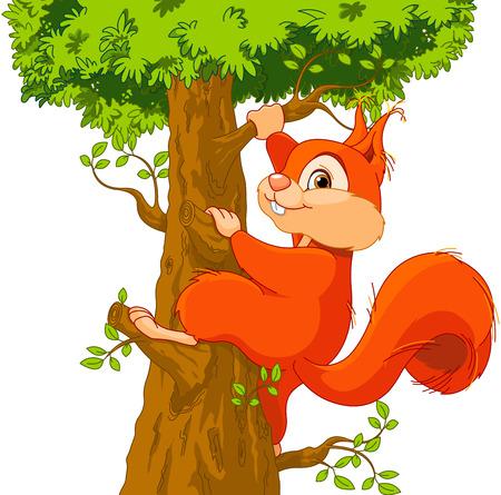 非常にかわいいリスのイラストは木を登ってください。