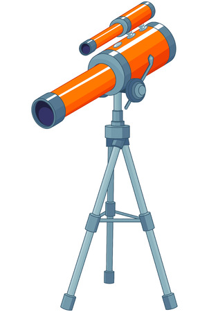 tripod mounted: Illustration of telescope mounted on a tripod