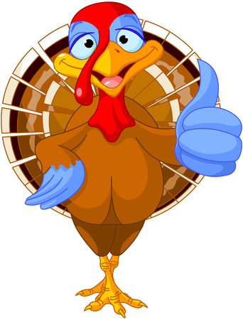 Illustration of cute turkey shows thumb up Vector