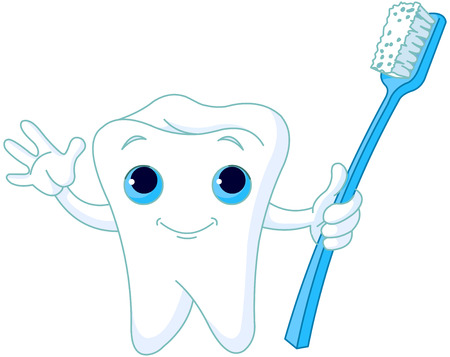 Cartoon Tooth Character holding toothbrush Illustration